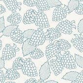 Doodle Outline Blackberries Seamless Pattern