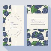Business Card Set With Blackberryes With Doodle Frames
