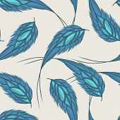Colorful Seamless Pattern With Hand Drawn Feathers