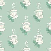 Tea Mugs With Mint Seamless Patern