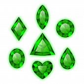 Set of green colored gems