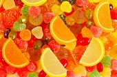 Background of colorful fruity jujube and sweets closeup