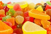 Colorful fruity sweets and jelly closeup