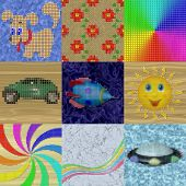Set Of Pixelated Image Generated Textures