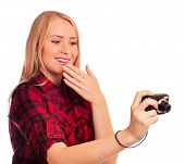 Attractive Female Photographer Humiliating Compact Camera - Isol