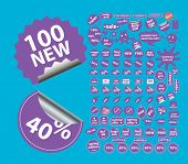 100 sale shop stickers icons, signs set, vector