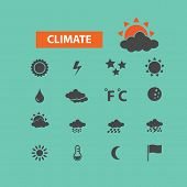 climate, weather icons set, vector