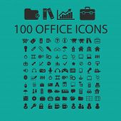 100 office, document, presentation, work icons, signs set, vector
