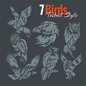 Birds in tribal style. Vector set.