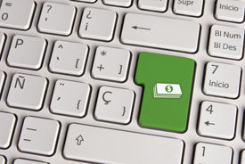 picture of spanish money  - Spanish keyboard with money cash icon over green background button - JPG