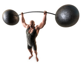 image of weight-lifting  - A muscular man with a handlebar mustache and a body suit lifting a weight with a bending bar - JPG