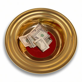 picture of stewardship  - Church offering plate with some currency in it - JPG