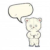 picture of bear-cub  - cartoon teddy polar bear cub with speech bubble - JPG