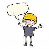foto of attitude boy  - cartoon boy with positive attitude with speech bubble - JPG