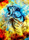 foto of tiger cub  - painting abstract tiger collage on color abstract background rust structure wildlife animals - JPG