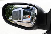 Rearview Car Driving Mirror Overtaking Big Truck