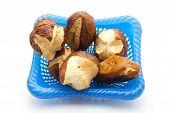 pic of bread rolls  - Fresh Baked Brown Lye Bread Rolls in Basket - JPG