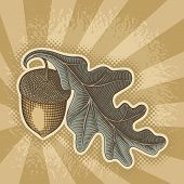picture of acorn  - Acorn with oak leaf icon with retro colors on grunge beige background - JPG