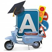 stock photo of driving school  - Driving School Concept with scooter - JPG