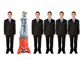 image of business-office  - business people in a series with a casual guy doing the headstand - JPG