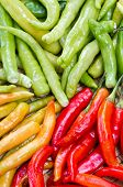 picture of yellow-pepper  - pile of green red and yellow thai goat pepper - JPG