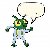 picture of spaceman  - cartoon alien spaceman with speech bubble - JPG