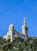 stock photo of notre dame  - Notre Dame de la Garde in Marseille France - JPG