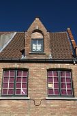 picture of gable-roof  - Gable roof of the brick historic house  - JPG