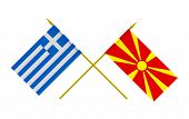 stock photo of macedonia  - Flags of Greece and Macedonia 3d render isolated - JPG