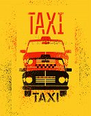 picture of cabs  - Typographic graffiti retro grunge taxi cab poster - JPG