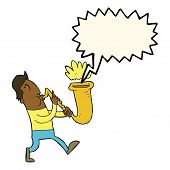 foto of saxophone player  - cartoon man blowing saxophone with speech bubble - JPG