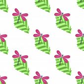 pic of dragonflies  - seamless pattern with leaves and dragonflies on white background - JPG