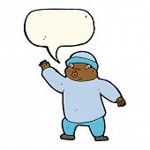 pic of crazy hat  - cartoon man in hat waving with speech bubble - JPG