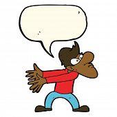 image of annoying  - cartoon annoyed man gesturing with speech bubble - JPG
