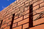 foto of wall cloud  - Blue skies and clouds over brick wall - JPG