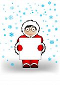 Vector Illustration The Boy In Christmas Clothes A Holding Sheet Of Paper