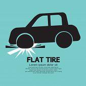 image of car symbol  - Flat Tire Car Black Symbol Vector - JPG