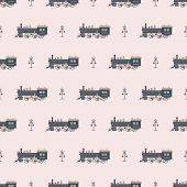 pic of beep  - Seamless pattern with locomotive and traffic lights vector background - JPG