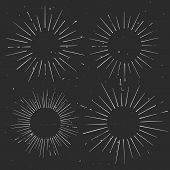 foto of starburst  - Set of vintage circle hand drawn ray frames starburst template with a space for your text company name or slogan - JPG