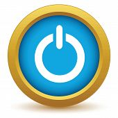 foto of reboot  - Gold power icon on a white background - JPG