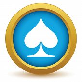 stock photo of spade  - Gold spades card icon on a white background - JPG