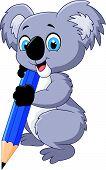 picture of koalas  - Vector illustration of Cartoon koala holding pencil - JPG