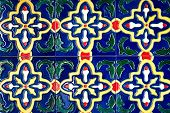 stock photo of ceramic tile  - Beautiful old wall ceramic tiles patterns handcraft from thailand public - JPG