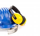 stock photo of muffs  - Hard hat and ear muffs hammer - JPG