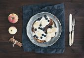 picture of maple syrup  - Breakfast set on dark wooden desk - JPG