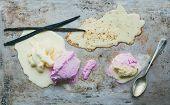 stock photo of vanilla  - Vanilla and strawberry ice - JPG