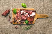 stock photo of sackcloth  - Meat selection  - JPG