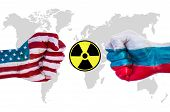 stock photo of nuclear bomb  - Demonstration of the power of a strong fist Usa versus Russia with nuclear weapon - JPG