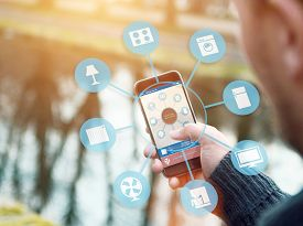 stock photo of temperature  - smart house device illustration with app icons - JPG