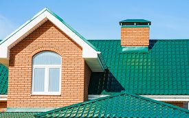 image of gabled dormer window  - gable roof private residential new modern house with a window - JPG